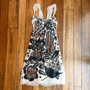 Carolina Herrera cream sequin embroidered dress
